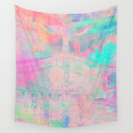Totem Cabin Abstract - Pastel Wall Tapestry