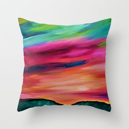 ROSY SKY OVER THE HILLS - Abstract Sky Oil Painting Throw Pillow