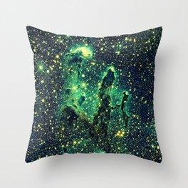 Galaxy NEBULa  : Pillars of Creation Green Throw Pillow