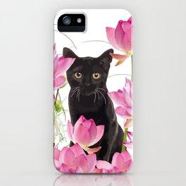 Black Cat Lotos Flower Gras iPhone Case