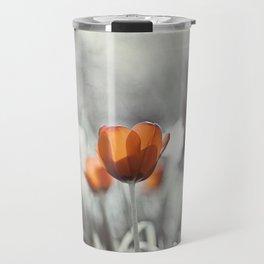 Orange Grey Tulip Photography, Burnt Orange Tulip Flowers Photo Travel Mug