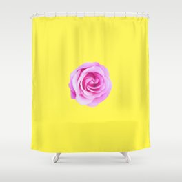 pink rose with yellow background Shower Curtain