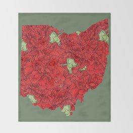 Ohio in Flowers Throw Blanket
