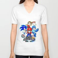 super smash bros V-neck T-shirts featuring Super Smash Bros  by Blaze-chan