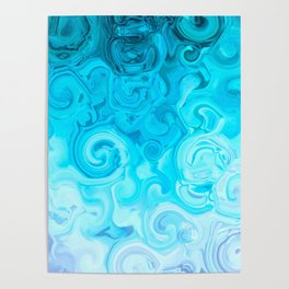 white turquoise blue whirl abstract digital painting Poster