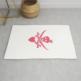 Funny pink glamorous Jolly Roger flag with swords, heart and crown Rug