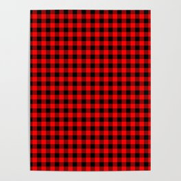 Classic Red Country Cottage Summer Buffalo Plaid Poster