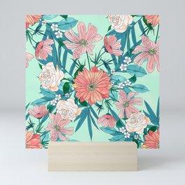 Boho chic spring garden flowers illustration Mini Art Print