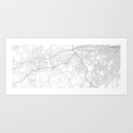 Boston marathon route in purple Art Print