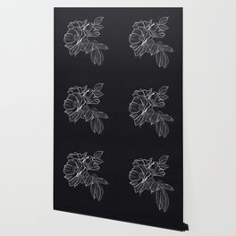 Chalked Roses - Black and White Modern Florals Wallpaper