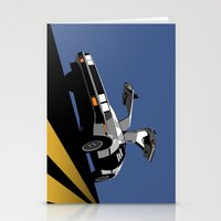 delorean Stationery Cards featuring Delorean - Retro Poster; Blue by Geoff Ombao Car Art