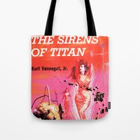 vonnegut Tote Bags featuring Vonnegut -  The Sirens of Titan by Neon Wildlife