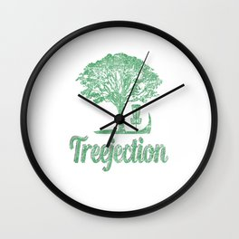 Treejection Funny Disc Golf Distressed Wall Clock