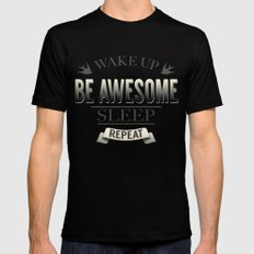Be Awesome. Repeat. (Yellow) MEDIUM Black Mens Fitted Tee