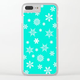 Snow Flurries-Frosty Blue Clear iPhone Case