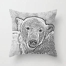 Ultra Sketch Polar Bear Throw Pillow