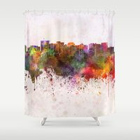oakland Shower Curtains featuring Oakland skyline in watercolor background by Paulrommer