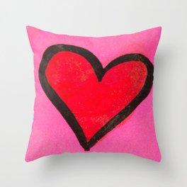Red Heart Throw Pillow