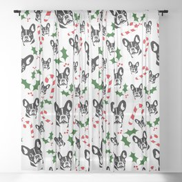 FRENCH BULLDOG LOVERS GIFTS ,GIFT WRAPPED FOR CHRISTMAS Sheer Curtain