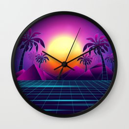 Tranquil Sunset Vaporwave Aesthetic Wall Clock