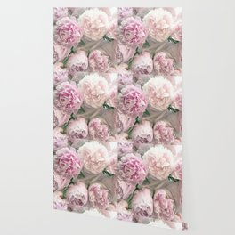 Shabby Chic Pastel Pink Peonies Wall Art - Peonies Home Decor Wallpaper