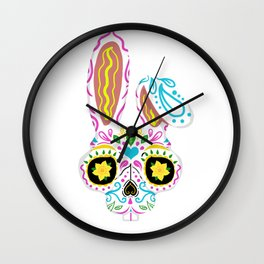 Sugar Skull Rabbit Dia de los Muertos Wall Clock
