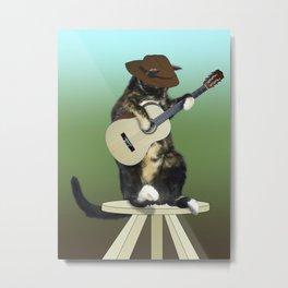 Cat Playing Guitar Metal Print