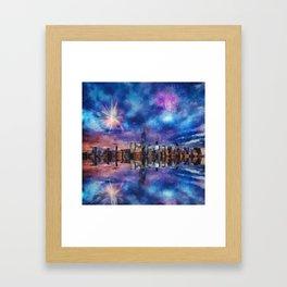 New York Fireworks Framed Art Print