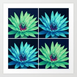Flowers (blue and green) Art Print