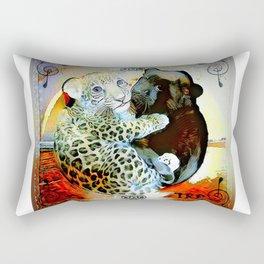 Big Cat Companions: Leopard & Black Panther Cubs 01-02 Rectangular Pillow