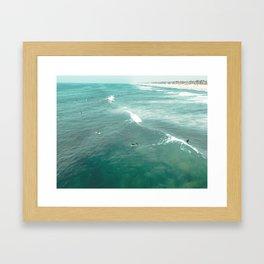 California Surf // Coastal Spring Waves Teal Blue and Green Ocean Huntington Beach Views Framed Art Print