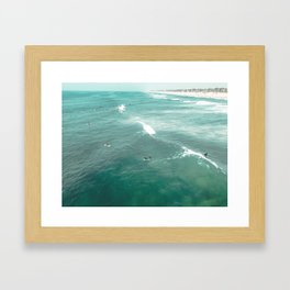 California Surf // Coastal Spring Waves Teal Blue and Green Ocean Huntington Beach Views Framed Art Print