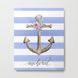 Anchor on stripes Metal Print