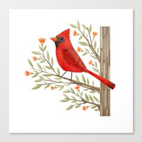 cardinal Canvas Prints featuring Cardinal by Stephanie Fizer Coleman