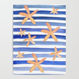 Starfish on blue stripes watercolor design Poster