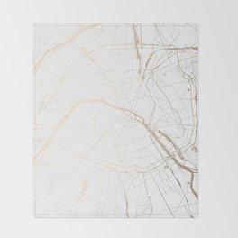 Paris Gold and White Street Map Throw Blanket