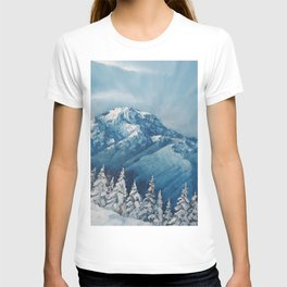 Snowy Mountain Rainier landscape. USA Winter Scene. Snowy forest. Perfect Christmas scenery and gift, original oil painting by Luna Smith T-shirt