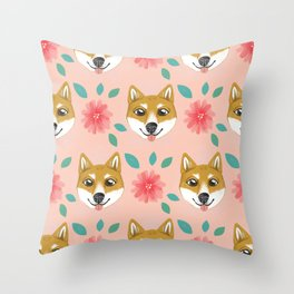Shiba Inu Floral Throw Pillow