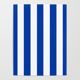 Royal azure - solid color - white vertical lines pattern Poster
