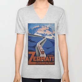 Vintage poster - Zermatt Unisex V-Neck
