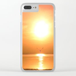Flying towards the sunset Clear iPhone Case