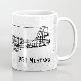 North American P51 Mustang (black) Coffee Mug