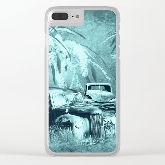 cars and butterflies in moonlight Clear iPhone Case