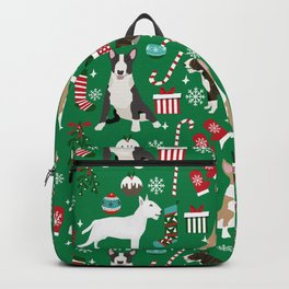 Bull Terrier christmas holiday pet pattern stockings presents dog breed gifts Backpack