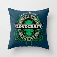 lovecraft Throw Pillows featuring Lovecraft Dark Spirits by Rebekie Bennington