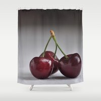 cherry Shower Curtains featuring Cherry by Julieta Krischak