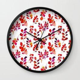 Watercolor fall robinia leaves Wall Clock