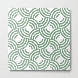 Retro striped circles mosaic sage green on white Metal Print