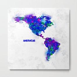 Watercolor Americas Map 1. Metal Print