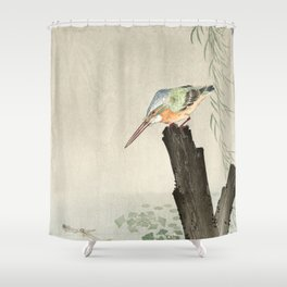 Kingfisher hunting - Japanese vintage woodblock print Shower Curtain